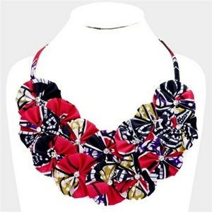 Multicolor Fabric Necklace and Earring Set